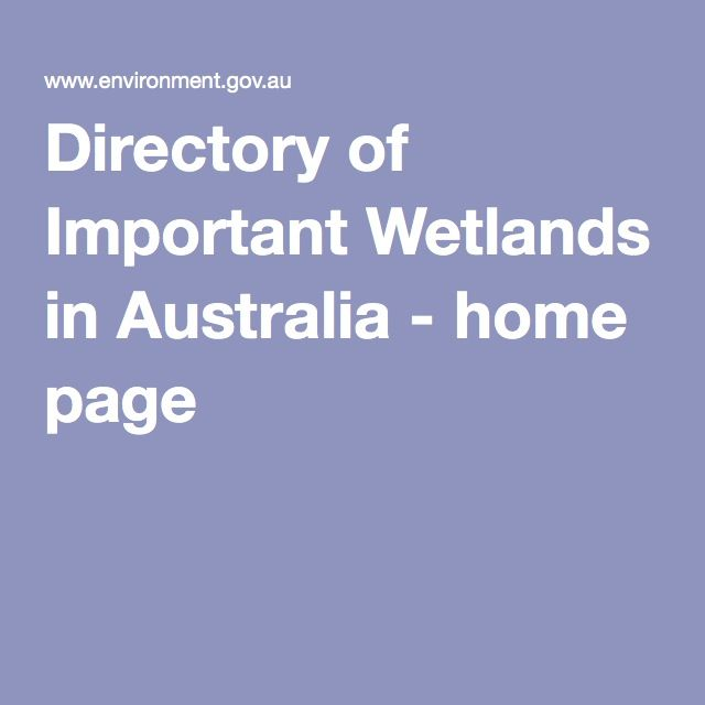 Directory of Important Wetlands in Australia - home page