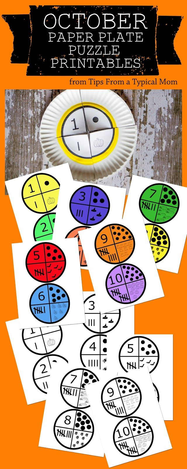 paper plate puzzles: fun number learning for kids | guest post by @MomBlogTips on teachmama.com with free printable #weteach