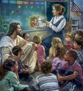 Jesus with children at story time - Nathan Greene