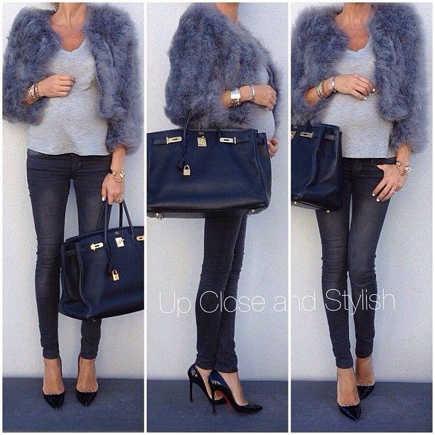 Last night - #BCBG feather jacket, #Elizabeth_James tee, #HM jeans (model: super low, super skinny), #Louboutin 'Pigalle' 120mm heels and #Hermès #Birkin 40.