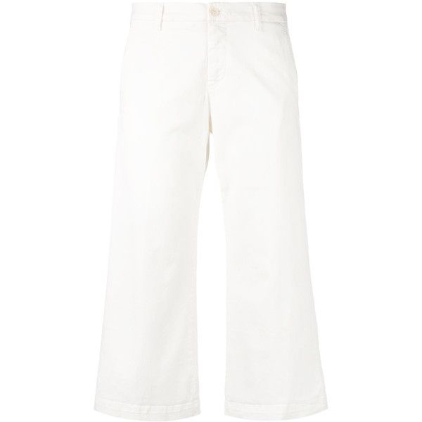 P.A.R.O.S.H. Cropped Trousers ($166) ❤ liked on Polyvore featuring pants, capris, cropped pants, white pants, white crop pants, cropped trousers and cotton stretch pants