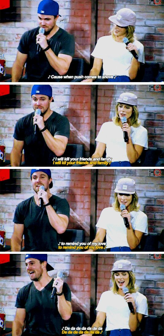 "I listen to that song, ""You'll Be Back"", while I'm running. - Stephen & Emily at #NerdHQ panel #sdcc2016"