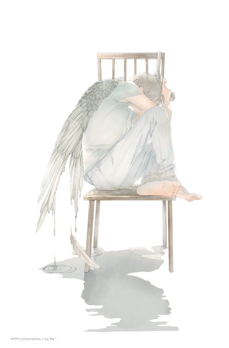 Re°, Feather Wings, Angel, White Pants, Covered Face, Fantasy