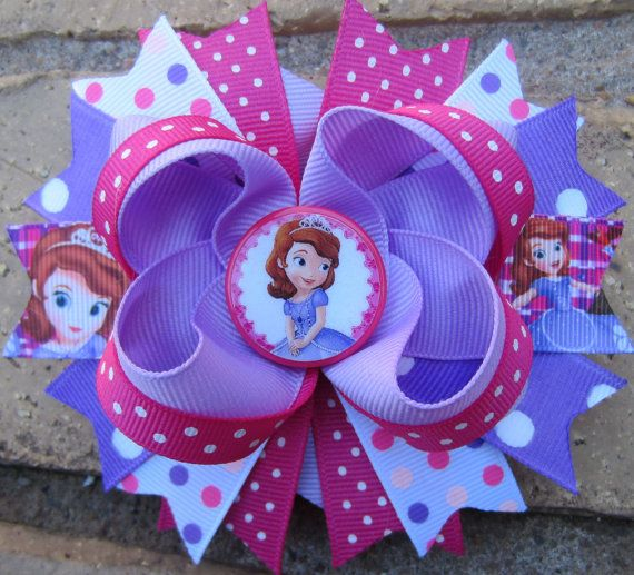 Sofia the First 1st inspired Custom Boutique Hair Bow Sophia for Disney Vacation or Birthday Party
