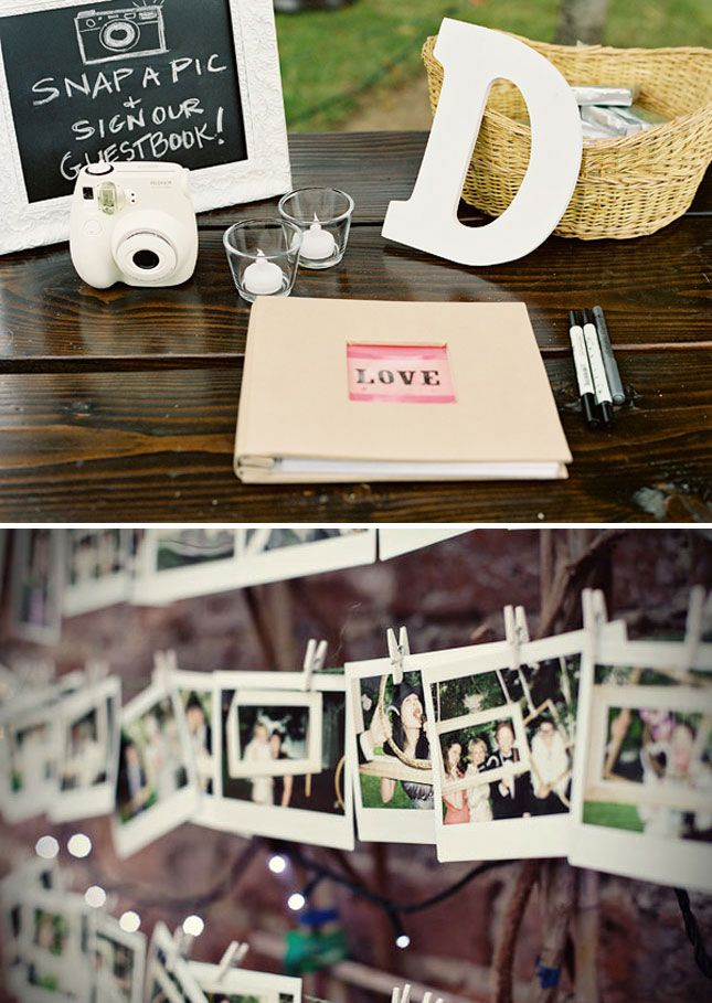 Pinning up Polaroid pics with clothespins is a fun alternative to putting them in a book right away