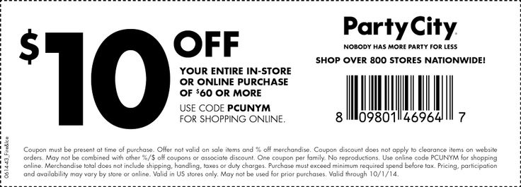 Pinned September 9th: $10 off $60 at Party #City, or online via promo code PCUNYM #coupon via The #Coupons App