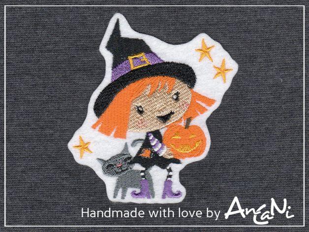 Aufnäher Hexe m. Katze ♥ Halloween ♥ Applikation von AnCaNi auf DaWanda.com