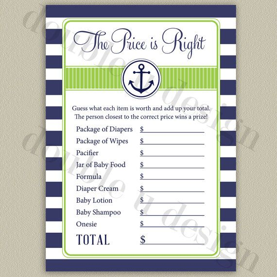 instant download nautical price is right baby shower game in navy and