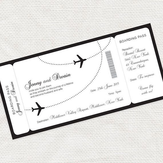 The perfect way to set the scene for a destination wedding with this printable boarding pass invitation. Simple and stylish, shown here in black