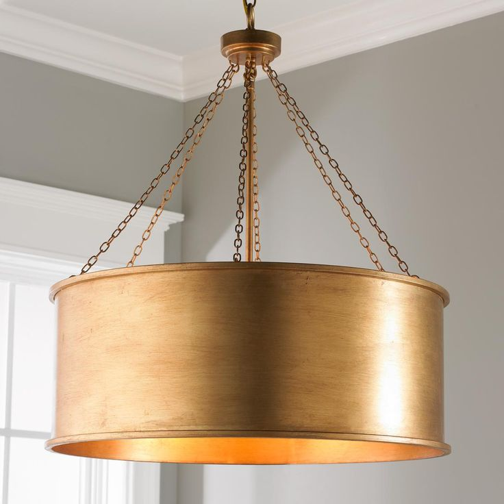 Luxe Patina Metal Drum Shade Pendant - Large