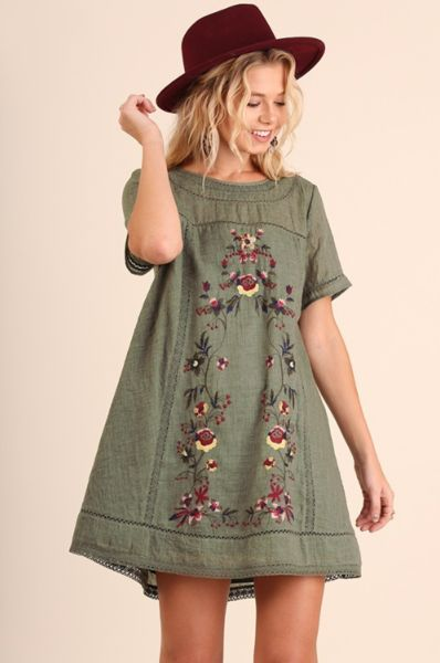 Vintage Love Embroidered Cotton Tunic Dress - Olive