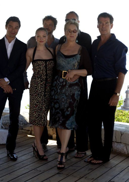 Pierce Brosnan, Colin Firth, Meryl Streep, Dominic Cooper and Amanda Seyfried at event of Mamma Mia! (2008)