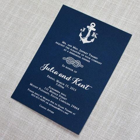 Navy Nautical Rehearsal Dinner Invitation