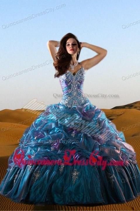 2014 Beautiful Straps Multi-color Beadings and Ruffles Gowns for Quinceanera - http://m.quinceaneradresscity.com