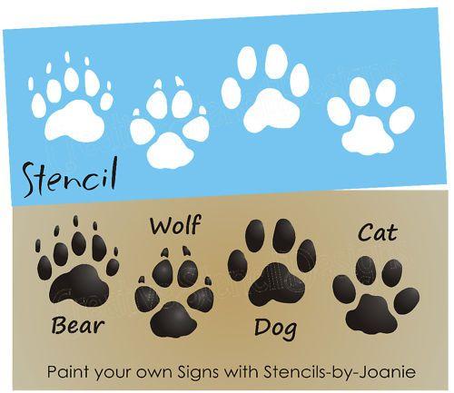 STENCIL Bear Wolf Dog Cat Paw Print Tracks Cabin Signs