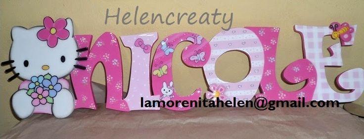 helencreaty: Decoracion hello kitty- apliques , silueta, espejo, bandeja y porta pañitos