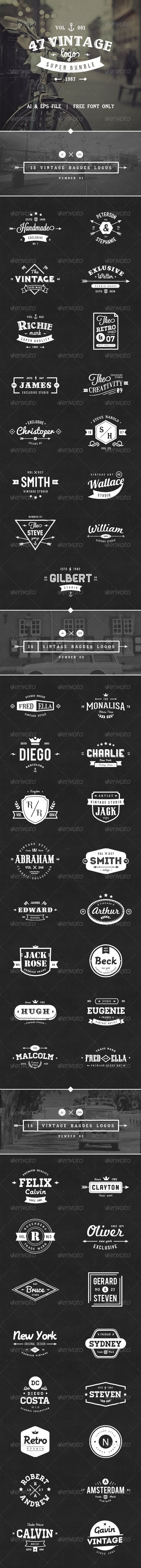 47 Vintage Logos Bundle - Badges & Stickers Web Elements