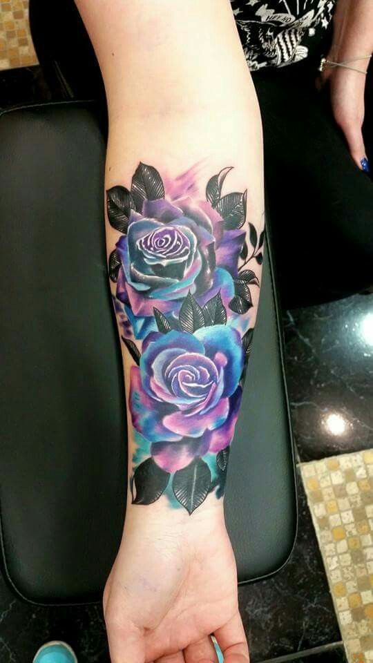 colorful flower tattoo for girl, make it lilies and Im happy