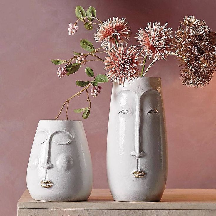White Ceramic Face Vases Two Sizes