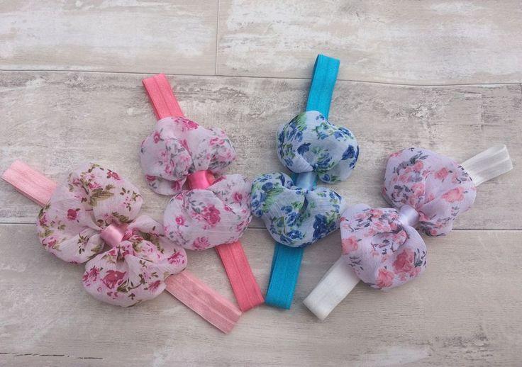 Baby Girl Flower Bow Pretty Hairband Elastic Headband UK Seller Pink Blue White