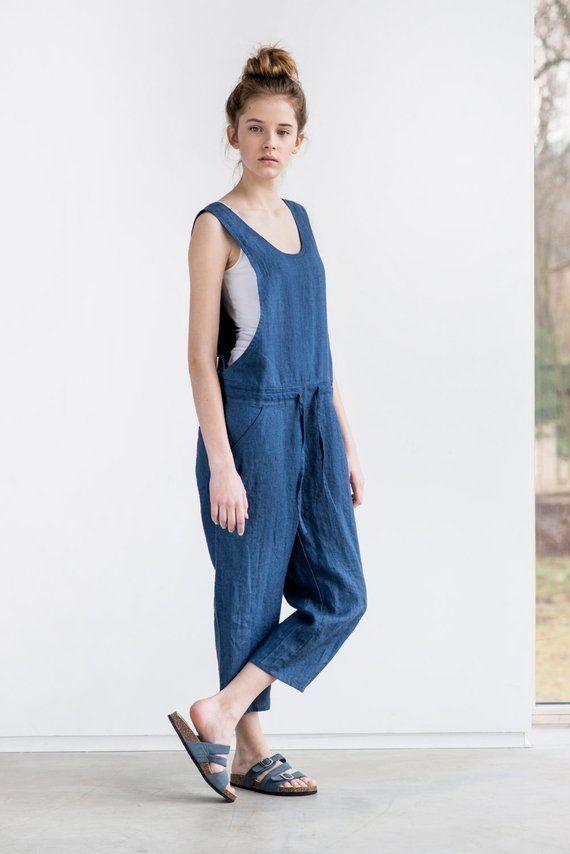 1f4b612e28 Loose Linen jumpsuit   Denim color washed linen jumpsuit  Washed ...