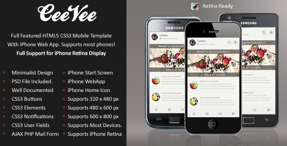 CeeVee Mobile Retina | HTML5 & CSS3 And iWebApp