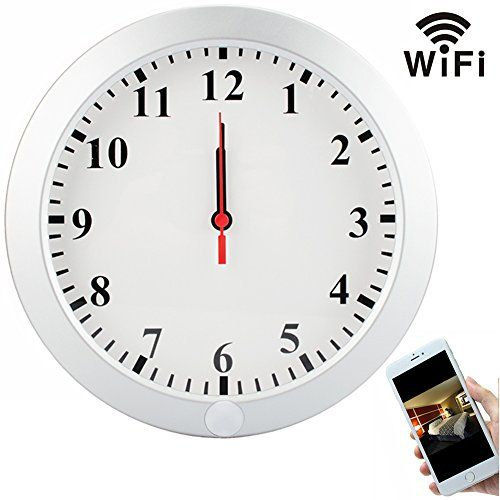 CAMXSW 1080P Wifi Pinhole Hidden Wall Clock Camera Clock Spy Camera / Nanny Cam / Home Security Camera Support Android IOS Smartphone Remote Control WIfi Live View ** Learn more by visiting the image link.