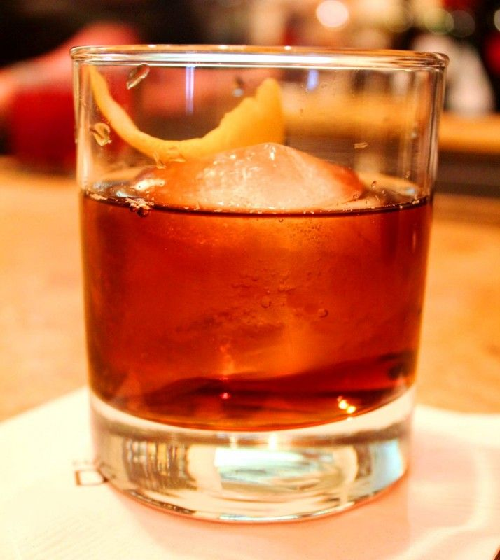 Cocktail recipe for a Vieux Carré made with 1 part Rye whiskey  1 part Cognac  1 part Sweet vermouth  1 tsp. Bénédictine  2 dashes Angostura bitters  2 dashes Peychaud's bitters