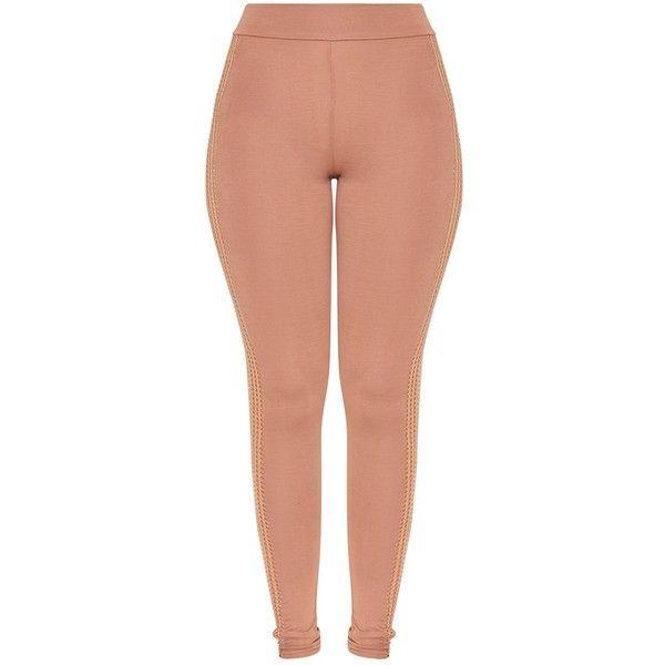 Wanita Camel Fishnet Panel Leggings ($38) ❤ liked on Polyvore featuring pants, leggings, panel pants, red camel pants, red pants, fishnet leggings and red trousers