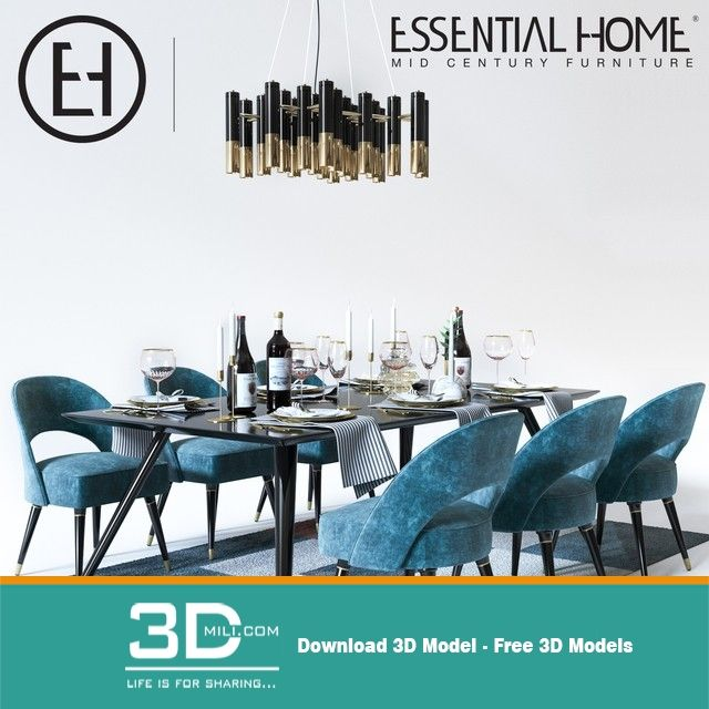 283 Table and chair 3dsmax File Free Download - 3D Mili