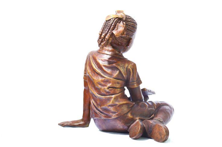 African school girl figurative bronze sculpture by James Cook