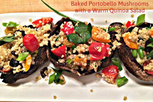 Baked Portobello Mushrooms with a Warm Quinoa Salad