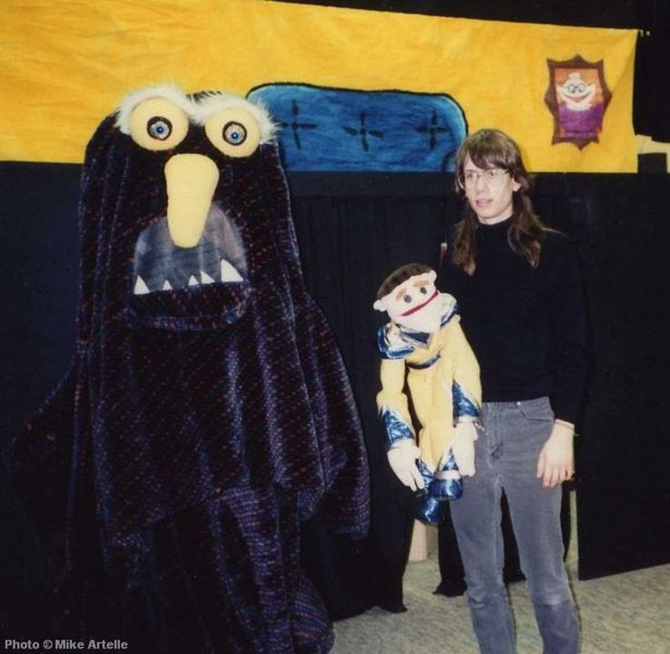 At age 17, with my puppet Rob The Slob and costume character Georgie the Monster, during a high school play that I mounted with some drama classmates in 1990.