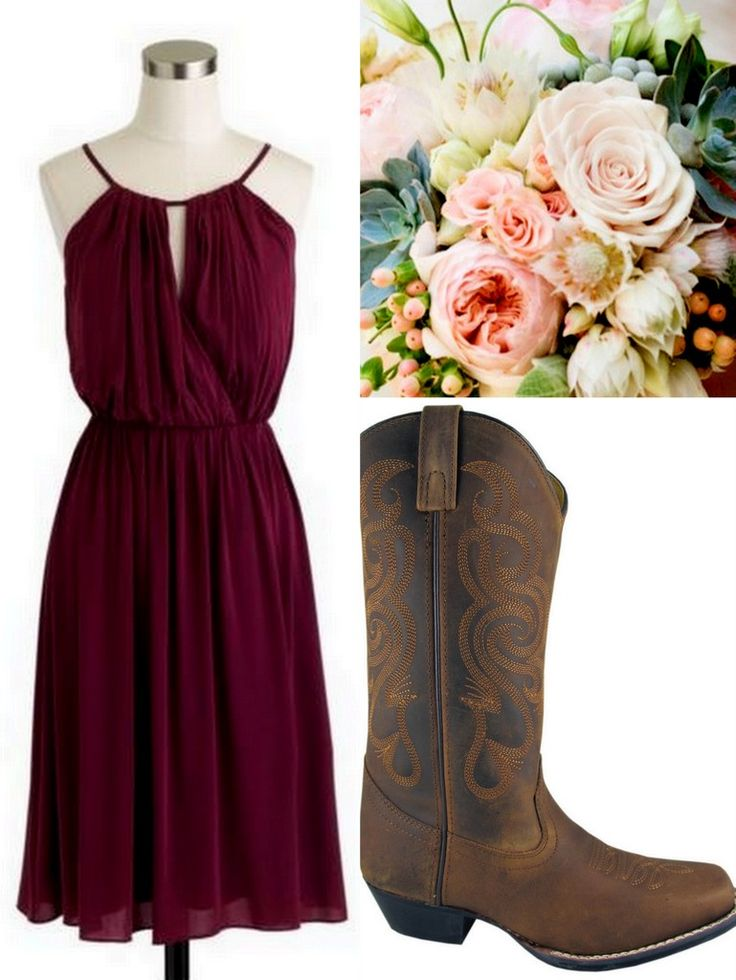 Cranberry-Red-Bridesmaid Dress Ideas-Lisa Sammons Events, Rustic, J. Crew, Cowboy Boots, Rustic I like the style of this dress a lot