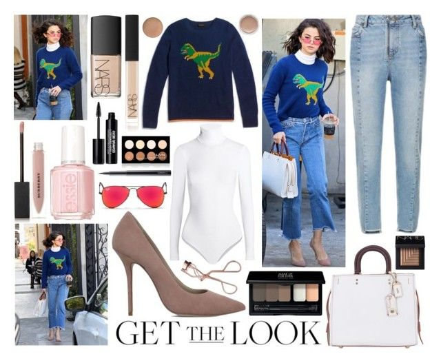 """""""Get The Look: Winter Trends: Printed Sweaters: Selena Gomez"""" by uniquelyurbanunicorn ❤ liked on Polyvore featuring Sandro, Coach, Kurt Geiger, Coach 1941, Wolford, Ray-Ban, Burberry, Essie, NARS Cosmetics and MAKE UP FOR EVER"""