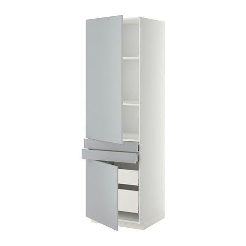IKEA - METOD/MAXIMERA, Hochschr. m Böd/4 Schubl./2 Tü/2 Fr, weiß, Veddinge grau, , Die Schublade schließt sich durch den integrierten Dämpfer langsam, sanft und geräuschlos.Guter Überblick und Zugriff dank voll ausziehbarer Schubladen in Unter-/Hochschrank.Leicht laufende Schublade mit Stoppvorrichtung; auf den letzten Zentimetern selbstschließend.Mit versetzbarem Boden; der Abstand dazwischen kann dem Bedarf angepasst werden.Die Tür kann wahlweise mit der Öffnung nach rechts oder links ...