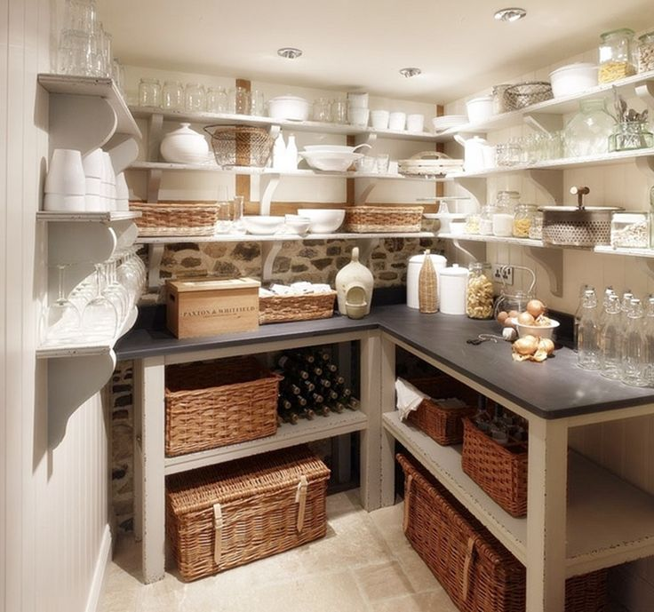 Kitchen pantry ideas include walk in pantries with