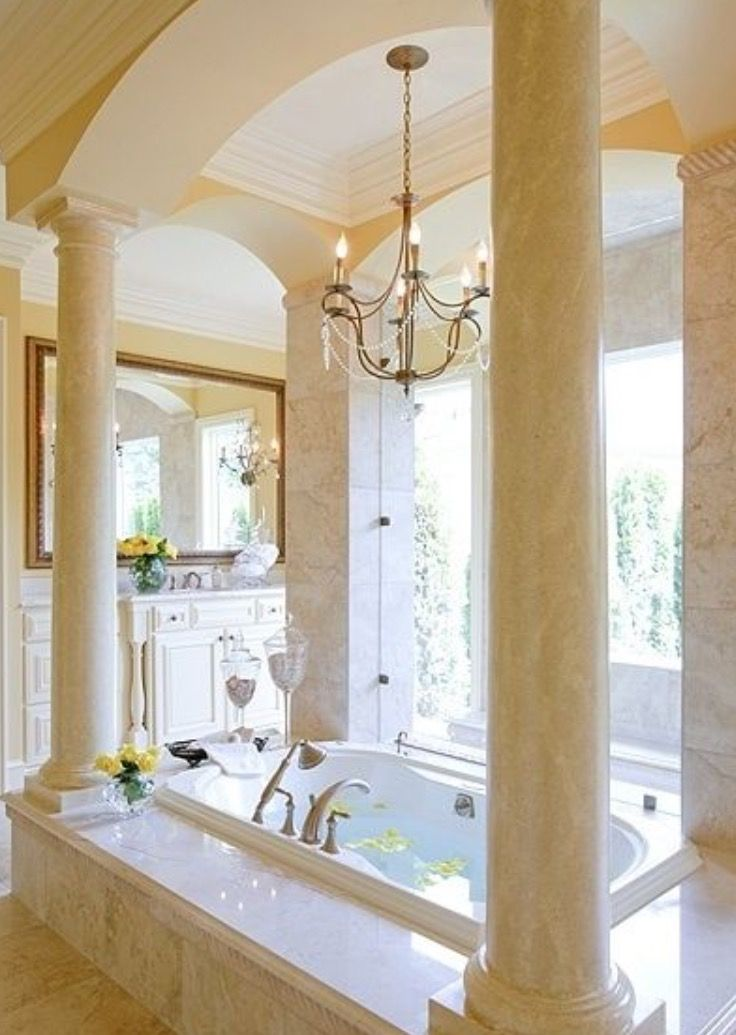 pictures to hang in master bathroom%0A Grand Bathroom  columns surrounding soaking tub  like a Roman bath  Not  that I think I will ever have a bathtub this amazing but it would be nice