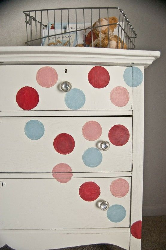 diy polka dot painted dresser