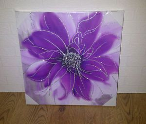 Large Purple And Silver Glitter Flower Canvas Wall Art Picture New