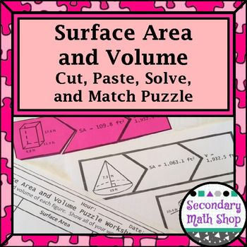 $1 Tuesday July 4, 2017 #mathdollardeals Just $1 through July 4th! Search #mathdollardeals to find more savings! In this activity, designed to practice surface area and volume of three-dimensional figures, students cut out 36 puzzle pieces to match together