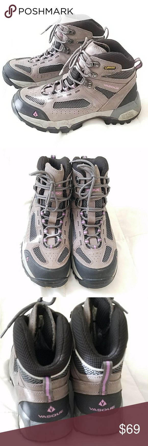Vasque Hiking Boots Gore Tex Amazing womens Vasque Hiking Boots. Gore Tex, purple and grey color. Lightly worn a few time outdoors. Some scuffing around the edges, a little dirt on the bottom but super clean inside, no smells. Vasque Shoes Winter & Rain Boots