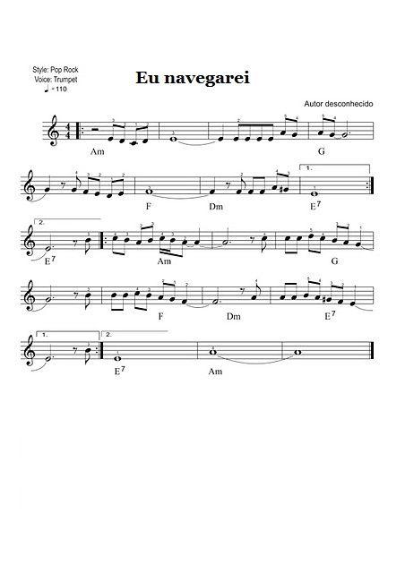 Partituras Musicais: Eu navegarei (Harpa Cristã) - n.º 405