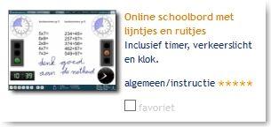 Online schoolbord met lijntjes en ruitjes.
