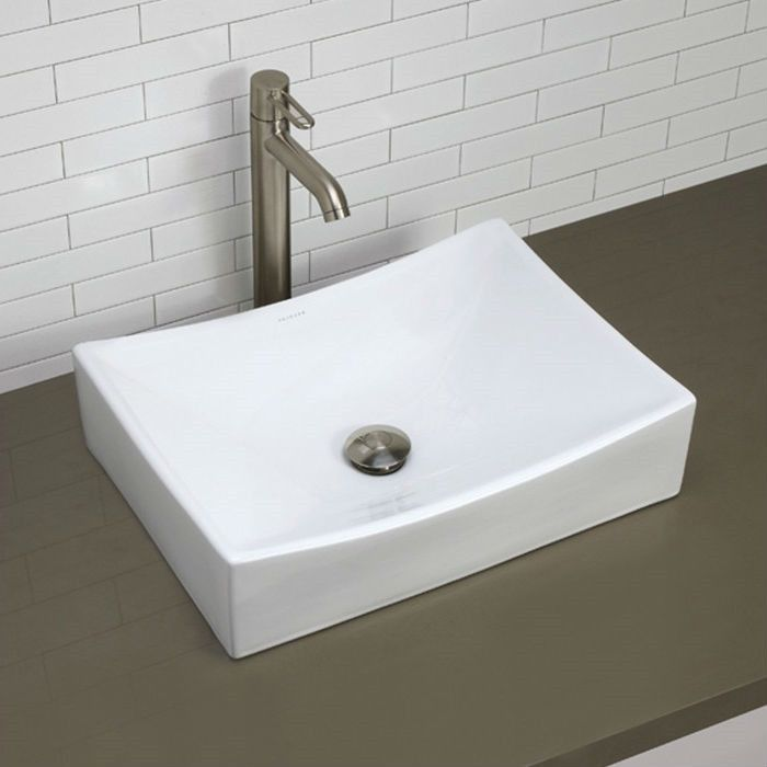 Modern Rectangular White Ceramic Vessel Bathroom Sink With
