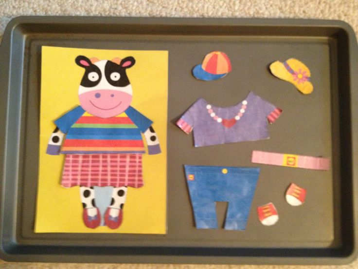 Cookie sheet activity:  Alex.com printable dress-up cow, on magnetic paper