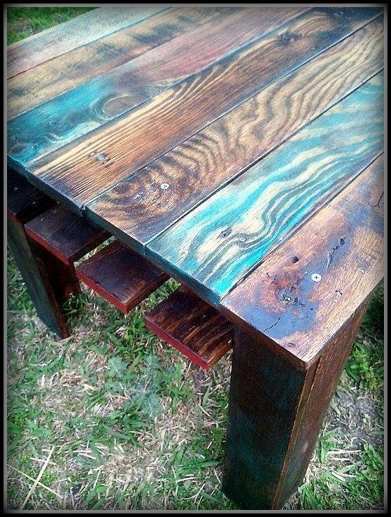 Custom Multi Color Reclaimed Pallet Wood Side Table Wood