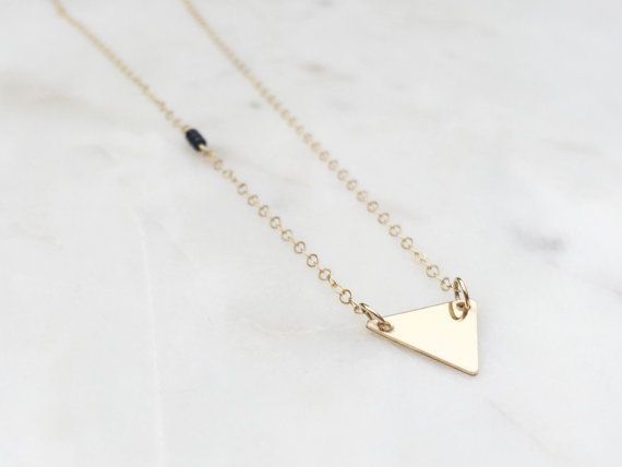 Gold Triangle Necklace / Gold and Black Triangle by WildAboutFrank