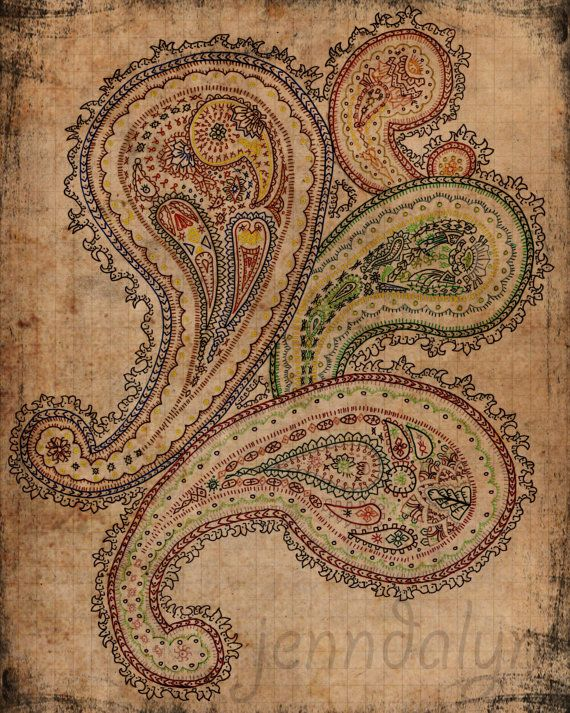 bohemian art boho decor paisley drawing mixed media colorful art 8 x 10 paper PRINT parchment hippie gypsy. $18.00, via Etsy.