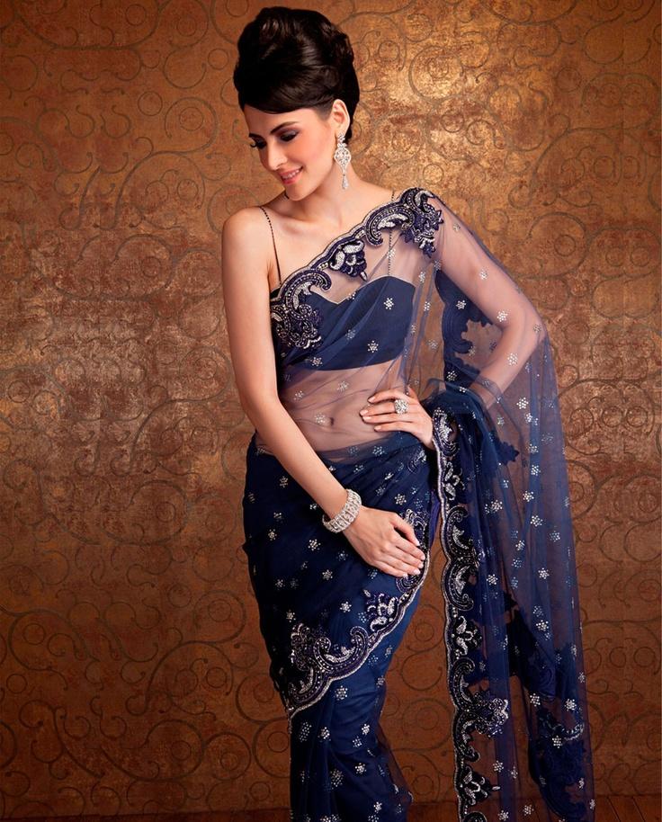 gorgeous Moroccan blue net sari